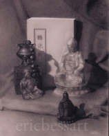 Grand Buddha Teaches the Way, Charcoal/White Chalk, 18 x 24, 2013