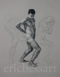 Figure Study, Black and White Chalk, 18x24, 2013