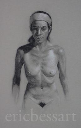 Figure Study, Charcoal/WhiteChalk, 11x14, 2013