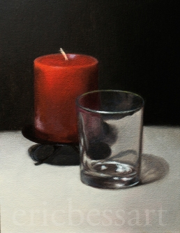 Glass and Candle, Oils, 9x12, 2013