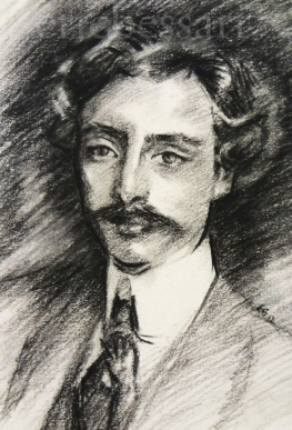 Study of J.S. Sargent at the Morgan Library, Charcoal, 9x11, 2013