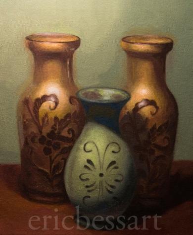 Three Vases, Oils, 11x14, 2013
