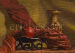 Monadic Apple and Vase, Oils, 5x7, 2014